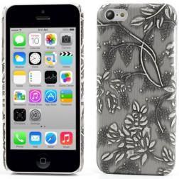 Gėlėtas plastikinis dėklas - pilkas (iPhone 5C)