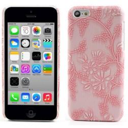 Gėlėtas plastikinis dėklas - rožinis (iPhone 5C)