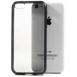 Plastikinis dėklas su kieto silikono rėmu - skaidrus/juodas (iPhone 5C)