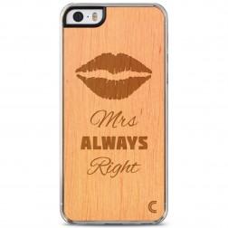 """""""Crafted Cover"""" natūralaus medžio dėklas - Mrs Always Right (iPhone 5 / 5S / SE)"""