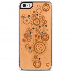 """""""Crafted Cover"""" natūralaus medžio dėklas - Mechanizmas su kristalais (iPhone 5 / 5S / SE)"""