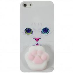 """""""Squezy"""" Pėdutė kieto silikono (TPU) dėklas - baltas (iPhone 5 / 5S)"""