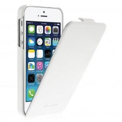 Vertikaliai atverčiamas klasikinis dėklas - baltas (iPhone 5 / 5S / SE)