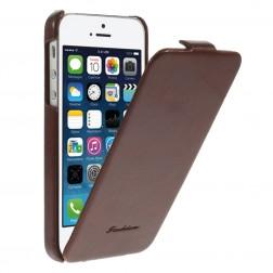 Vertikaliai atverčiamas klasikinis dėklas - rudas (iPhone 5 / 5S / SE)