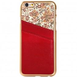 Gėlėtas dėklas su kortelių laikikliu - raudonas (iPhone 6 / 6s)
