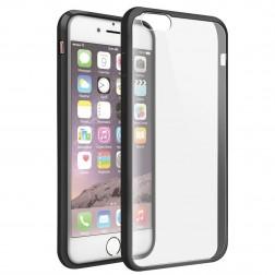 Plastikinis dėklas su kieto silikono rėmu - skaidrus / juodas (iPhone 6 / 6S)