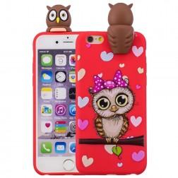 """""""Squezy"""" Owl kieto silikono (TPU) dėklas - raudonas (iPhone 6 / 6S)"""