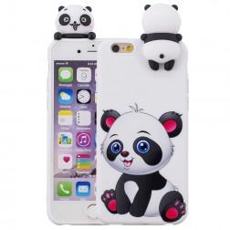 """""""Squezy"""" Panda kieto silikono (TPU) dėklas - baltas (iPhone 6 / 6S)"""
