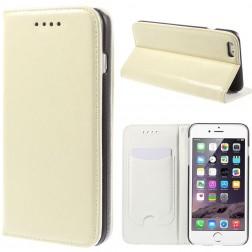 Solidus atverčiamas odinis dėklas - smėlio spalvos (iPhone 6 Plus / 6s Plus)