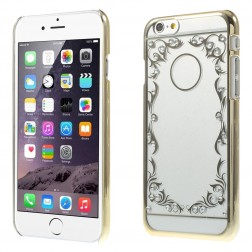 Raštuotas plastikinis skaidrus dėklas - auksinis (iPhone 6 / 6s)