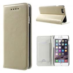 Solidus atverčiamas odinis dėklas - smėlio spalvos (iPhone 6 / 6s)