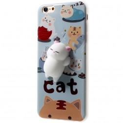 """""""Squezy"""" Cat kieto silikono (TPU) dėklas - mėlynas (iPhone 6 / 6S)"""