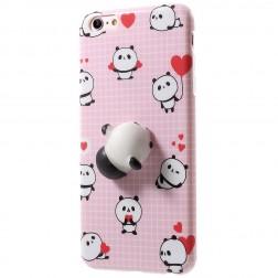 """""""Squezy"""" Panda kieto silikono (TPU) dėklas - rožinis (iPhone 6 / 6S)"""