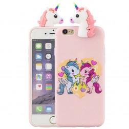 """""""Squezy"""" Two Unicorns kieto silikono (TPU) dėklas - rožinis (iPhone 6 / 6S)"""