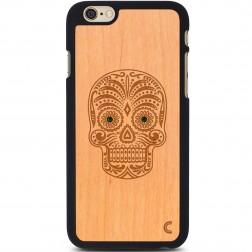 """""""Crafted Cover"""" natūralaus medžio dėklas - Kaukolė su kristalais (iPhone 6 / 6s)"""