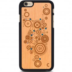 """""""Crafted Cover"""" natūralaus medžio dėklas - Mechanizmas su kristalais (iPhone 6 / 6s)"""