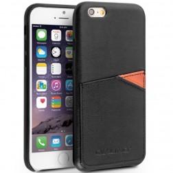 """""""QIALINO"""" Leather dėklas su kišenėle - juodas (iPhone 6 / 6s)"""