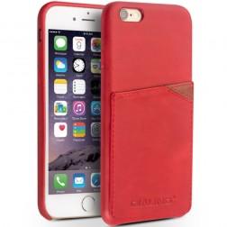 """""""QIALINO"""" Leather dėklas su kišenėle - raudonas (iPhone 6 / 6s)"""