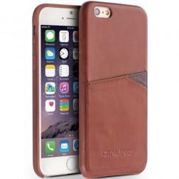 """""""QIALINO"""" Leather dėklas su kišenėle - šviesiai rudas (iPhone 6 / 6s)"""