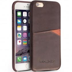"""""""QIALINO"""" Leather dėklas su kišenėle - tamsiai rudas (iPhone 6 / 6s)"""
