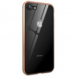 """""""Frame"""" magnetinis pilnai dengiantis dėklas - skaidrus, auksinis (iPhone 7 / 8 / SE 2020)"""