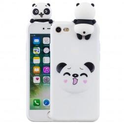 """""""Squezy"""" Panda kieto silikono (TPU) dėklas - baltas (iPhone 7 / 8 / SE 2020)"""