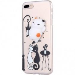 """""""Squezy"""" Cat kieto silikono (TPU) dėklas - skaidrus (iPhone 7 Plus / 8 Plus)"""