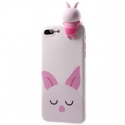 """""""Squezy"""" Rabbit kieto silikono (TPU) dėklas - rožinis (iPhone 7 Plus / 8 Plus)"""