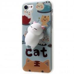 """""""Squezy"""" Cat kieto silikono (TPU) dėklas - mėlynas (iPhone 7)"""