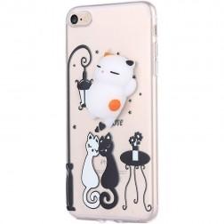 """""""Squezy"""" Cat kieto silikono (TPU) dėklas - skaidrus (iPhone 7 / 8)"""