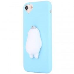 """""""Squezy"""" Polar Bear kieto silikono (TPU) dėklas - šviesiai mėlynas (iPhone 7)"""