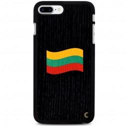 """""""Crafted Cover"""" natūralaus medžio juodas dėklas - Lietuvos vėliava (iPhone 7 Plus / 8 Plus)"""