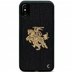 """""""Crafted Cover"""" natūralaus medžio dėklas - Juodas Vytis (iPhone X / Xs)"""