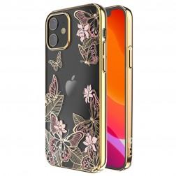 """""""Kingxbar"""" Butterflies Swarovski dėklas - auksinis (iPhone 12 Mini)"""