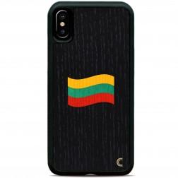 """""""Crafted Cover"""" natūralaus medžio juodas dėklas - Lietuvos vėliava (iPhone X / Xs)"""