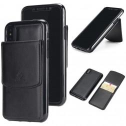 Kieto silikono (TPU) dėklas su kortelių laikikliu - juodas (iPhone X / Xs)