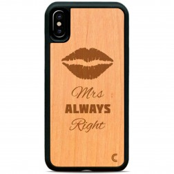 """Crafted Cover"" natūralaus medžio dėklas - Mrs Always Right (iPhone X / Xs)"