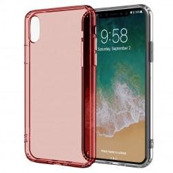 Kieto silikono (TPU) skaidrus dėklas - raudonas (iPhone X / Xs)