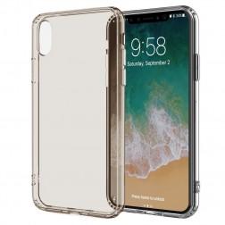Kieto silikono (TPU) skaidrus dėklas - šviesiai rudas (iPhone X / Xs)
