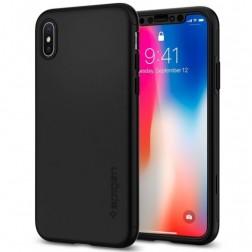 """""""Spigen"""" Thin Fit 360 plastikinis dėklas - juodas + apsauginis ekrano stiklas (iPhone X / Xs)"""