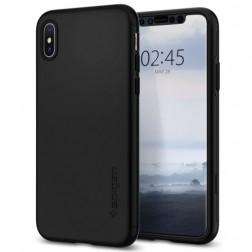 """""""Spigen"""" Thin Fit 360 plastikinis dėklas - juodas + apsauginis ekrano stiklas (iPhone Xs Max)"""