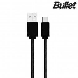 """""""Bullet"""" Nylon micro USB laidas - juodas (1 m.)"""