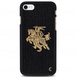 """""""Crafted Cover"""" natūralaus medžio dėklas - Juodas Vytis (iPhone 7 / 8)"""