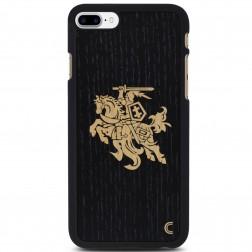 """""""Crafted Cover"""" natūralaus medžio dėklas - Juodas Vytis (iPhone 7 Plus)"""