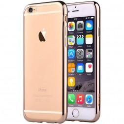 """""""Devia"""" Glitter dėklas - skaidrus, auksinis + apsauginis ekrano stiklas (iPhone 6 / 6S)"""