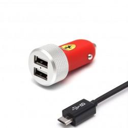 """""""Ferrari"""" Slim Car automobilinis įkroviklis + micro USB laidas - raudonas (2.1 A)"""