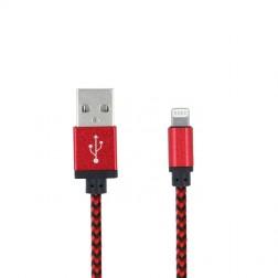 """Forever"" Nylon Lightning USB laidas - raudonas (1 m.)"