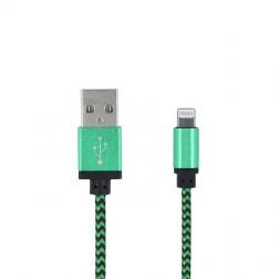 """Forever"" Nylon Lightning USB laidas - žalias (1 m.)"