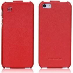"""""""HOCO"""" Duke vertikaliai atverčiamas dėklas - raudonas (iPhone 5 / 5S / SE)"""