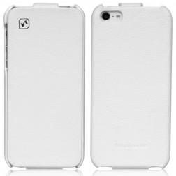 """""""HOCO"""" Duke vertikaliai atverčiamas dėklas - baltas (iPhone 5 / 5S / SE)"""